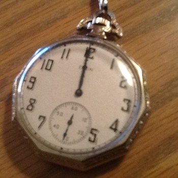 Elgin 10 sided Pocket Watch - Art Deco case  - Pocket Watches
