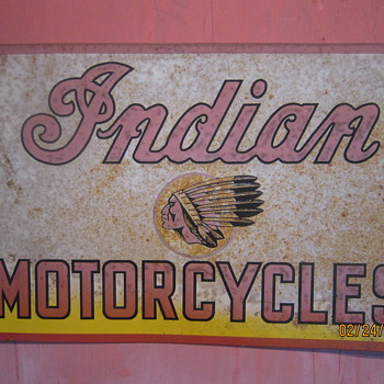 Original Circa 1940 One Sided Indian Motorcycles Sign - Motorcycles