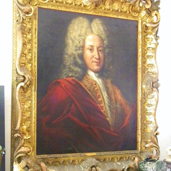 Antique Sir Isaac Newton Original Oil Painting by Godfrey Kneller W/Orig Frame 1690&#039;s - Furniture