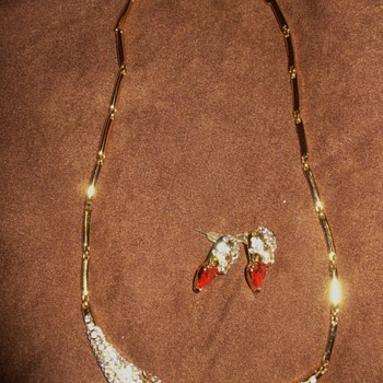 Red Heart and Crystals Panther Necklace Set - Costume Jewelry