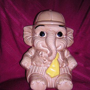 Elephant Cookie Jar with Baseball Hat
