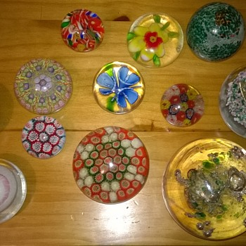 My collection of mixed glass paperweights  - Art Glass