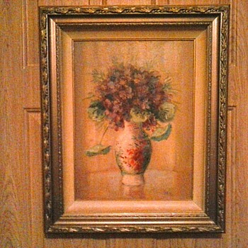 "Reframed Martin Rettig ""Violets"" /Original Frame Within New Gilt Wood Frame/ 17"" x 21"" / Circa 20th Century - Fine Art"