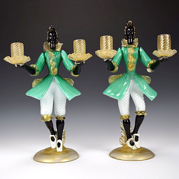 PAIR OF MURANO BLACKAMOOR CANDLE HOLDERS - Art Glass