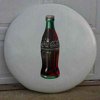 3 Foot Diameter White Coca Cola Button Sign - Coca-Cola