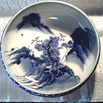 "Japanese Blue and White Bowl/""Aoki"" Mark /Circa Taisho Period 1912-1926"