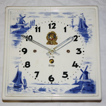 Dutch Ceramic Tile 8-Day Clock - Clocks