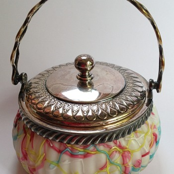 Victorian satin Peloton glass biscuit barrel with silverplate fittings - Art Glass
