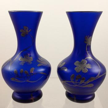 Carl Goldberg satin glass bud vases with silver deposit, ca. 1900 - Art Glass