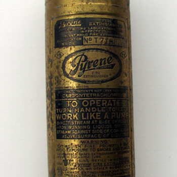 Old, Brass Pyrene Fire Extinguisher - Still Full