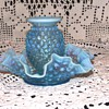 Fenton Blue Opalescent Hobnail Dish &amp; Vase