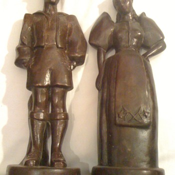 Dutch boy and girl table lamps