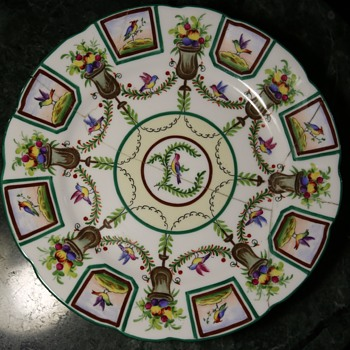 Interesting old plate with lots of pretty birds - Saxe? - Art Pottery