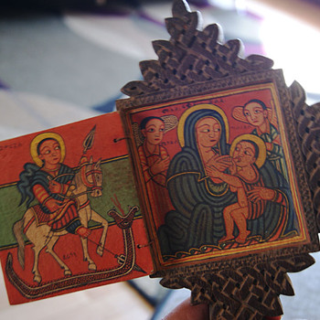 Hand-carved  eastern(?) cross with two painted chambers