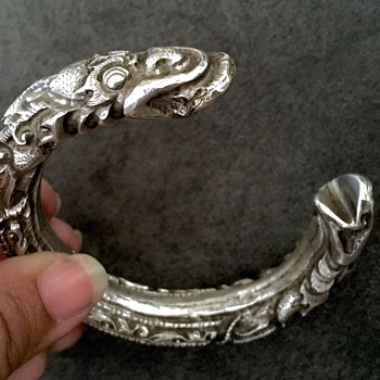 Victorian Chinese Carved Dragon/Foo Dog  Silver Cuff Bangle Bracelet