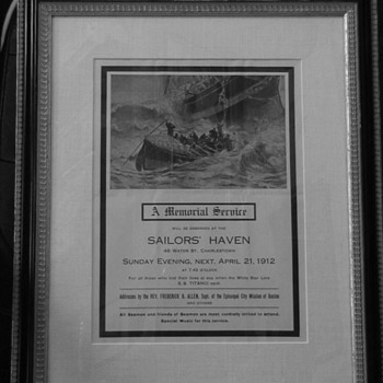 Vintage Titanic Victims Memorial Service Framed Flyer Sailors' Haven