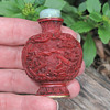DYNASTY??  chinese Snuff Coral & Jade Bottle with Ivory spoon What Dynasty???