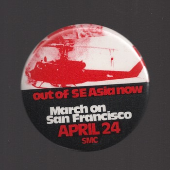 Out of SE Asia NOW March pinback button