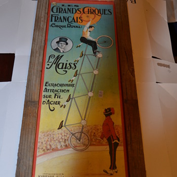 Antique Circus Poster with Black Man and Man on Bicycle 