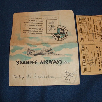 WW2 Braniff Airways tickets - Military and Wartime