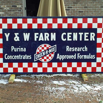 Old 8' x 4' Purina feed store sign  - Advertising