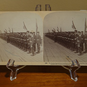 THE RUSSIAN IMPERIAL GUARD AWAITING THE GERMAN EMPEROR, PETERHOF PIER, RUSSIA,DATES 1897