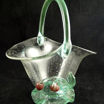Loetz Bubble Glass Basket with Cherries c.1930's - Art Glass