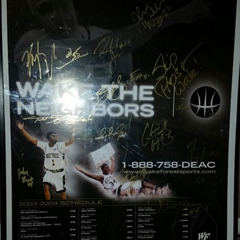 2003-04 Wake Forest team signed poster Chris Paul first college year