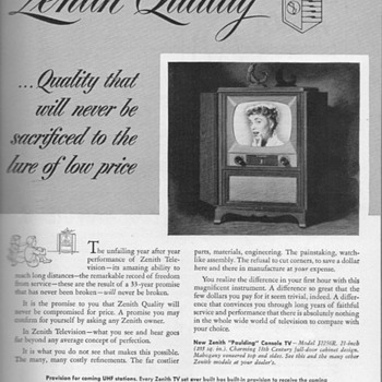 1952 - Zenith &quot;Paulding&quot; Console TV Advertisement - Advertising