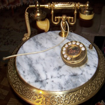 ANTIQUE PHONE MARBLE TOP BRASS BASE