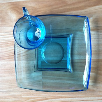 Capri Turquoise Snack Plate and matching Cup - Depression Glass - - Mid Century Glass