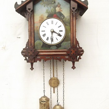 "Another stunning  ""tin plate"" hand painted antique cuckoo clock ""Rupert Mauer""  Ca 1855 - Clocks"