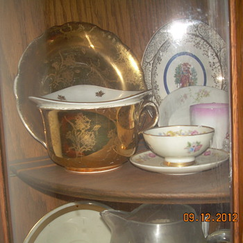 22k Gold China Cup and Saucer ande Old Perfume Bottles