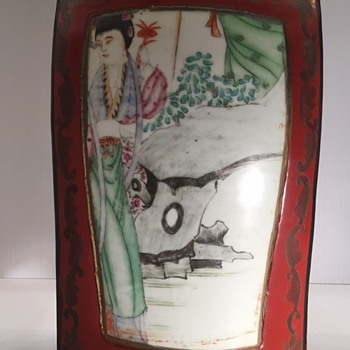 Lacquer and porcelain Chinese Shared box.