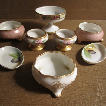 Salt Cellars...Limoges, Nippon, Noritake, and 1 Unknown 