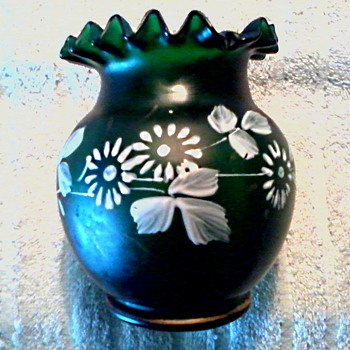 Deep Forest Green Ruffle Top Satin Glass Vase /Hand Painted White Flowers with Gilt Banding/Circa 20th Century