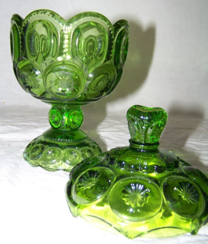 l g  wright moon  u0026 stars glass green covered compote candy dish