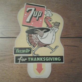 Various 7 Up Holiday Bottle Top Signs