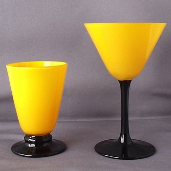 LOETZ YELLOW TANGO MARTINI AND CORDIAL GLASSES