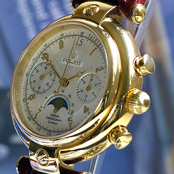 POLJOT Basilica Silver Century Moonphase Chronograph · Russian Watch - Wristwatches
