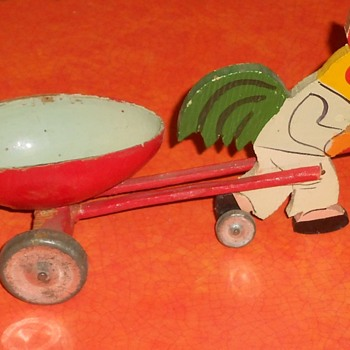 Painted Wood and Tin Easter Egg Rolling Chicken Cart Toy