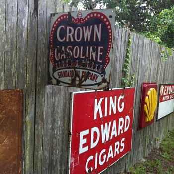 1920's Crown gasoline flange sign - Petroliana