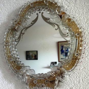 Beautiful Vintage Italian Venetian Murano Glass Vanity Dresser Wall Mirror - Art Glass