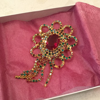 KRAMER... rainbow of rhinestones! - Costume Jewelry