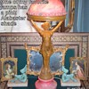 Beautiful antique bathing beauty alabaster lamp with book ends as accent