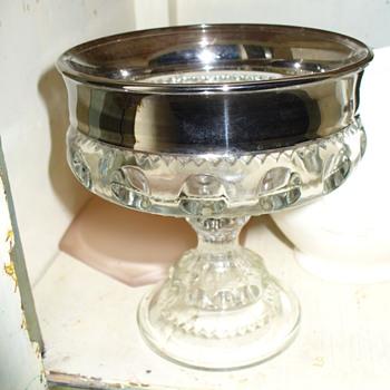 Silver Overlay King's Crown Sherbert - Glassware