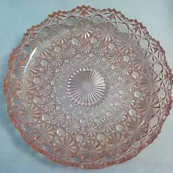 LG Wright Daisy & Button - Pink Flat Relish Pickle Tray Dish - Glassware