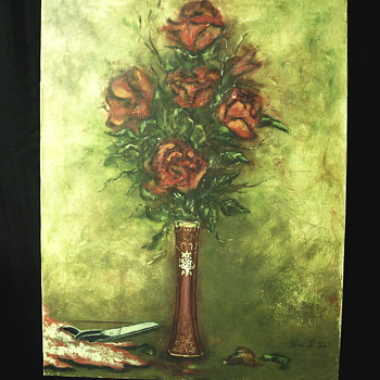 Oil Painting on canvas, Still Life, Roses with Bohemian Vase, French Canadian Artist, 1960-70 - Visual Art