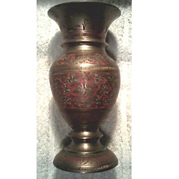 "Brass and Enamel Vase / Dot Pick Marks ""India""  ""226 C""  ""117"" / Unknown Age - Asian"