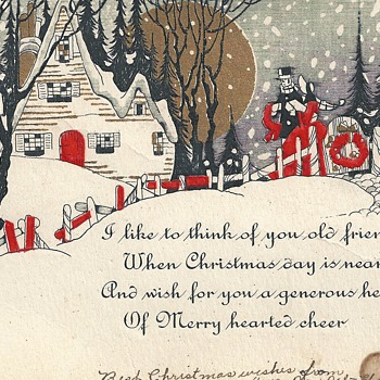 "Greeting Christmas card""Ant"" Early XX Century"